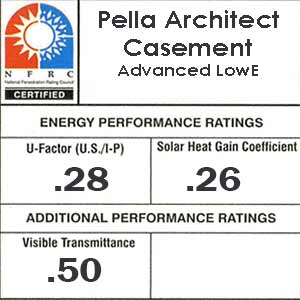 Pella architect casement NFRC