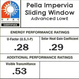 Pella Impervia two section slider NFRC sticker